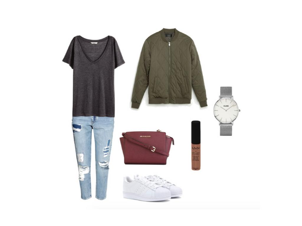 [Wednesday Outfit] Bomberjacke mit Boyfriend-Jeans